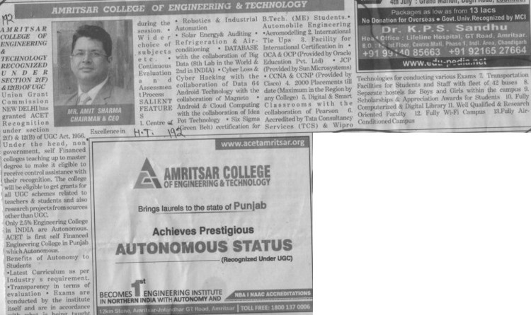 Message of Chairman Amit Sharma (Amritsar College of Engineering and Technology ACET Manawala)