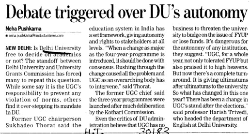 Debate triggered over DUs autonomy (Delhi University)