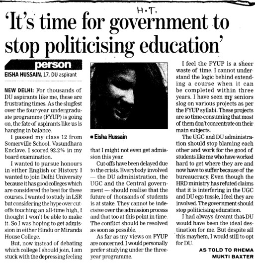 Its time for goverment to stop politicising education (Delhi University)