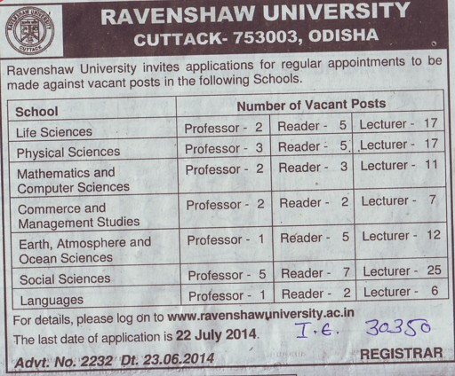 Professor for Life Sciences (Ravenshaw University)