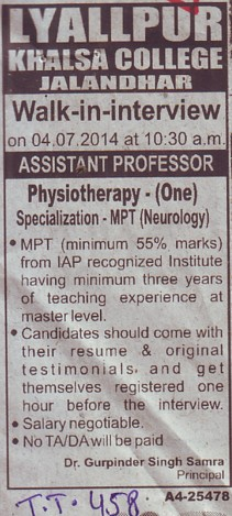 Asstt Professor for Physiotherapy (Lyallpur Khalsa College of Boys)