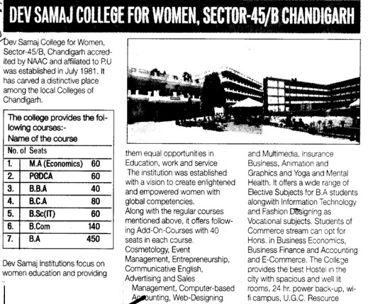 BBA, BCA and PGDCA courses (Dev Samaj College for Women)