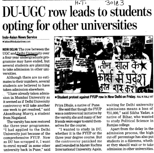 UGC row leads to students opting for other universities (Delhi University)
