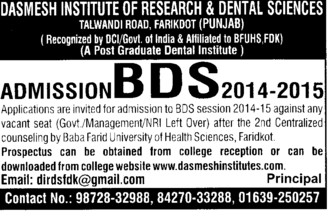 BDS Course (Dashmesh Institute of Research and Dental Sciences)