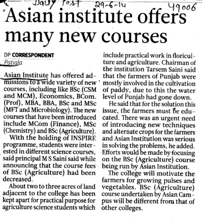 Asian Institute offers many new courses (Asian Institution)
