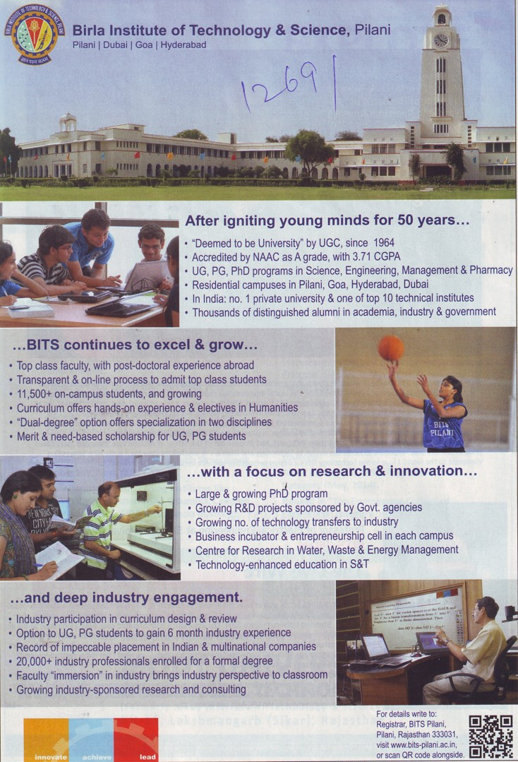 Top class faculty and No. 1 pvt university (Birla Institute of Technology and Science (BITS))
