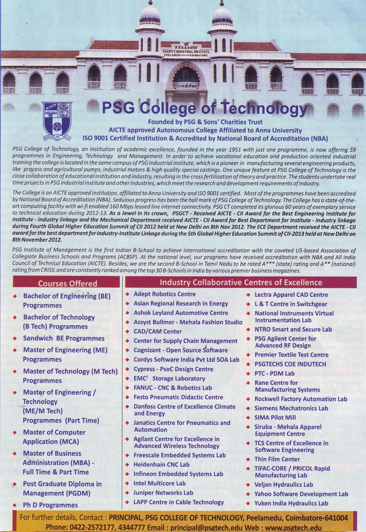 Psg College Of Technology Coimbatore Tamil Nadu