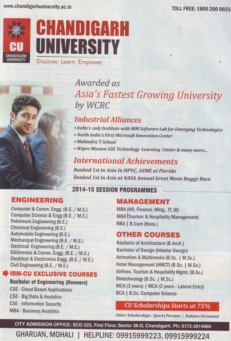MBA in HR, Finance and Marketing (Chandigarh University)