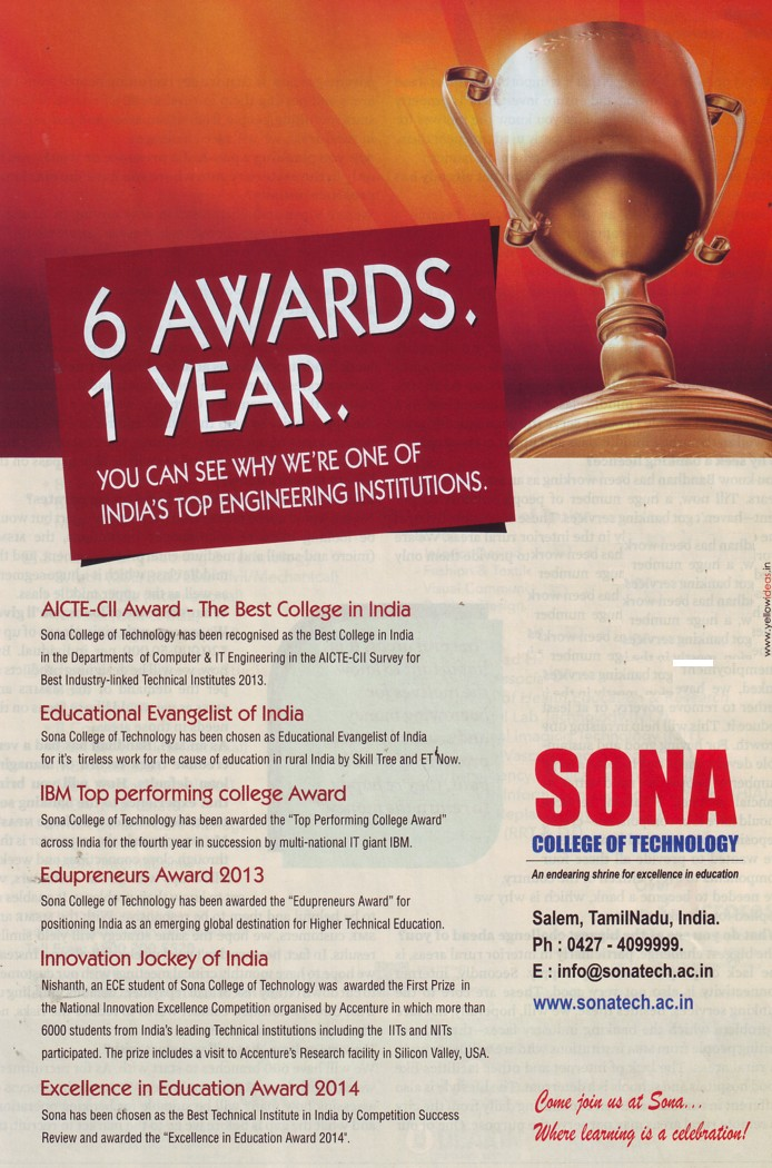 SCoT elected as best college of India (Ansal University)