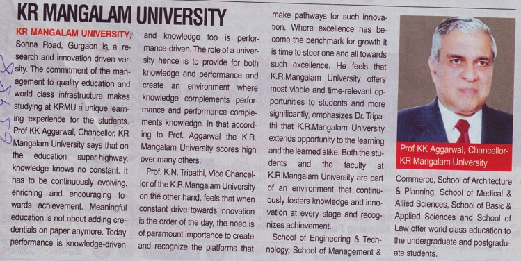 Message of Chancellor Prof KK Aggarwal (KR Mangalam University)