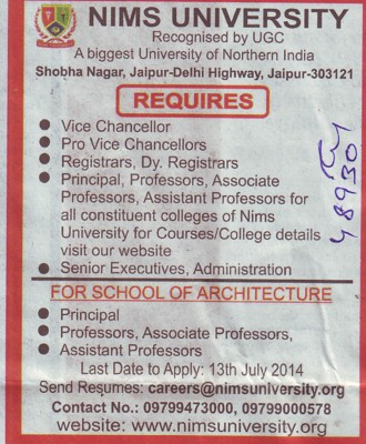 Vice Chancellor and Senior Executive (NIMS University)