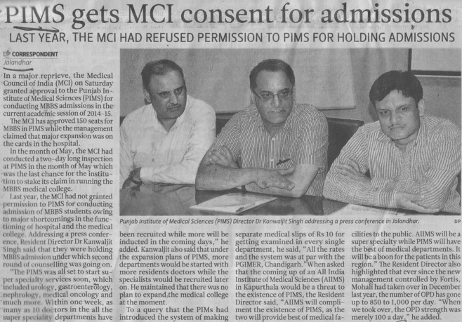 PIMS gets MCI consent for admissions (Punjab Institute of Medical Sciences (PIMS))