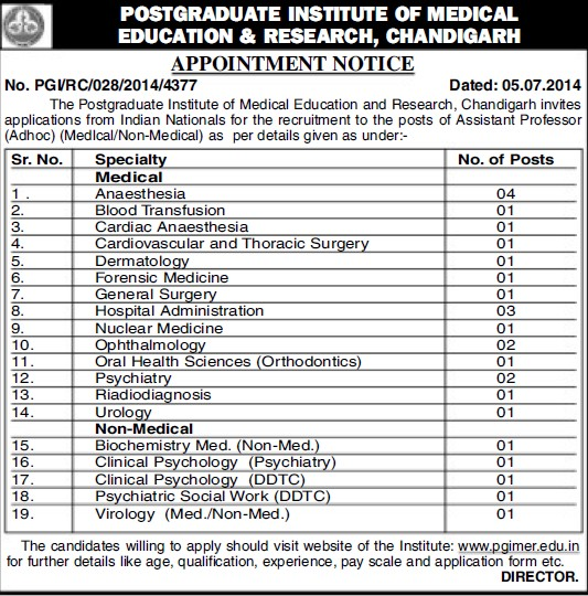 Asstt Professor for Dermatology (Post-Graduate Institute of Medical Education and Research (PGIMER))