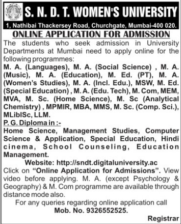 MA, MSc and MVA Programme (SNDT Women University)
