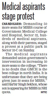 Medical aspirants stage protest (Government Medical College and Hospital (Sector 32))