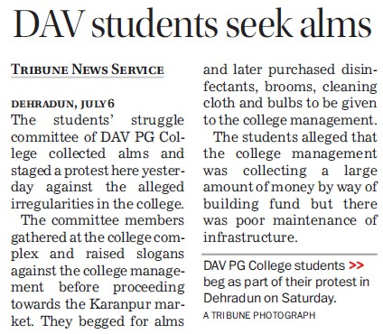DAV students seek alms (DAV PG College Karanpur)