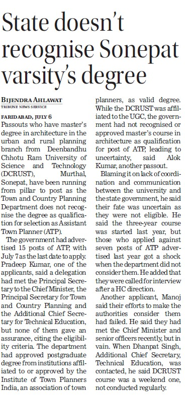 State doesn't recognise Sonepat varsity degree (Deenbandhu Chhotu Ram University of Science and Technology)