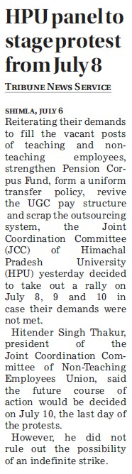 HPU panel to stage protest from July 8 (Himachal Pradesh University)