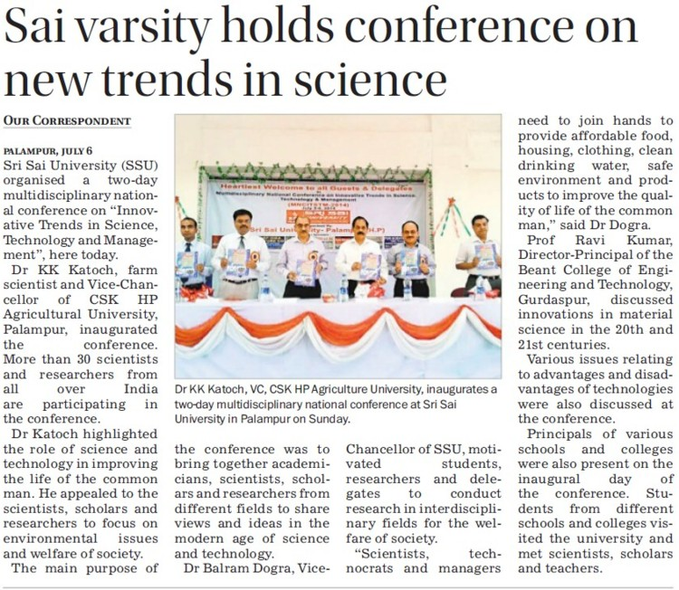 Sai varsity holds conference on new trends in science (Sri Sai University)