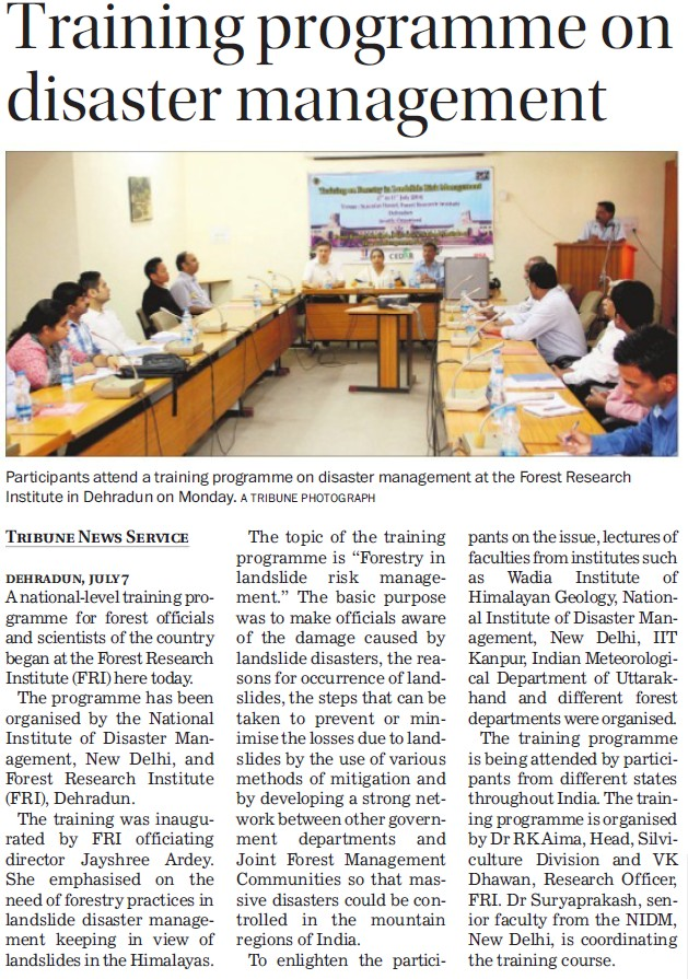 Training Programme on disaster management (Forest Research Institute)