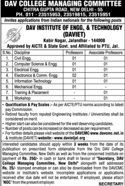 Associate Professor for CSE and ME (DAV College Managing Committee)