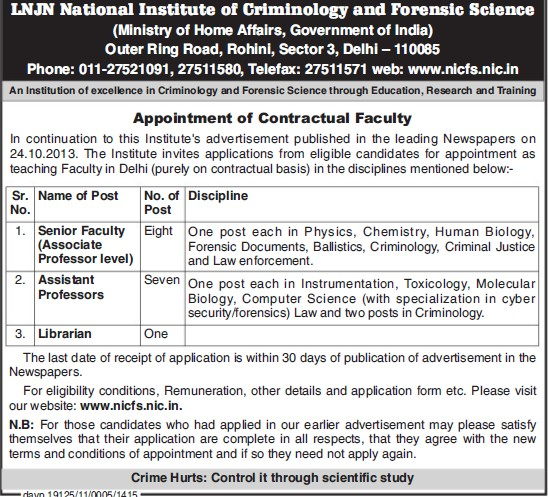 Senior Faculty and Librarian (Lok Nayak Jayaprakash National Institute of Criminology and Forensic Science)