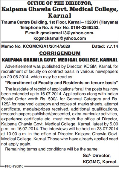 Faculty and Residents on tenure basis (Kalpana Chawla Medical College)