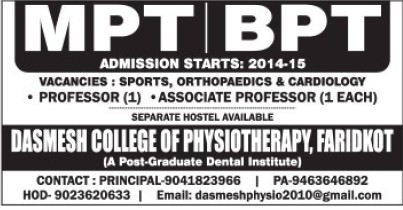BPT and MPT course (Dashmesh College of Physiotherapy)