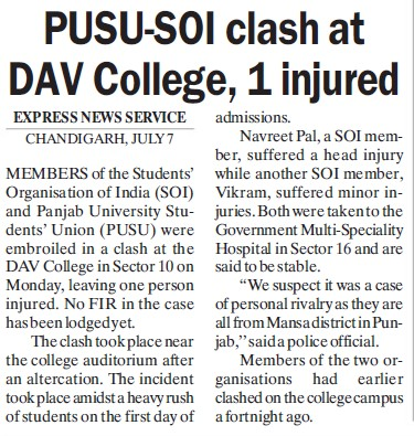 PUSU SOI clash at Dav college (DAV College Sector 10)