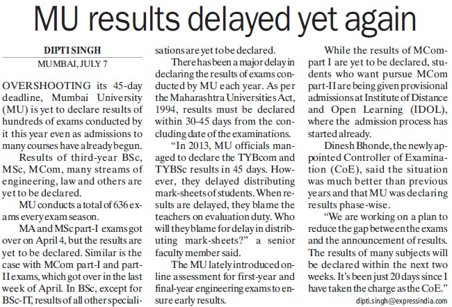 MU results delayed yet again (University of Mumbai)