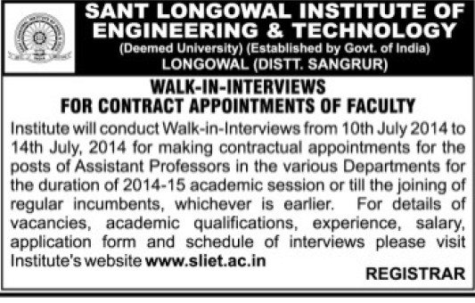 Asstt Professor on contract basis (Sant Longowal Institute of Engineering and Technology SLIET)
