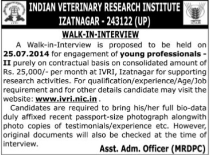 Young Professional on contract basis (Indian Veterinary Research Institute IVRI)