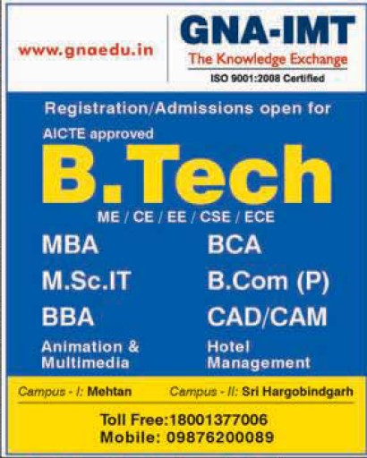 B Tech and MSc IT courses (GNA Institute of Management and Technology)