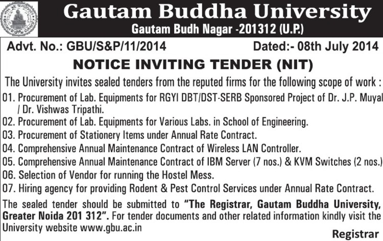Supply of Lab equipments (Gautam Buddha University (GBU))