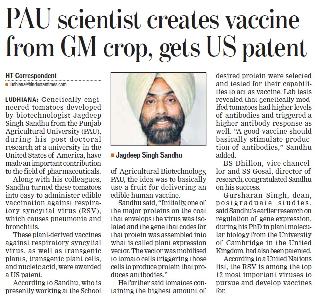 PAU scientist creates vaccine from GM crop (Punjab Agricultural University PAU)