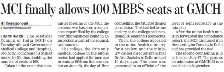 MCI finally allows 100 MBBS seats at GMCH (Medical Council of India (MCI))