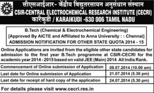 B Tech in Chemical Engineering (Central Electrochemical Research Institute (CECRI) Madras Unit)