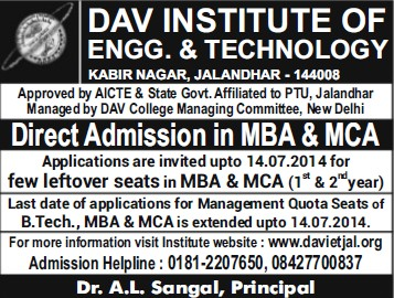 MBA and MCA programme (DAV Institute of Engineering and Technology DAVIET)