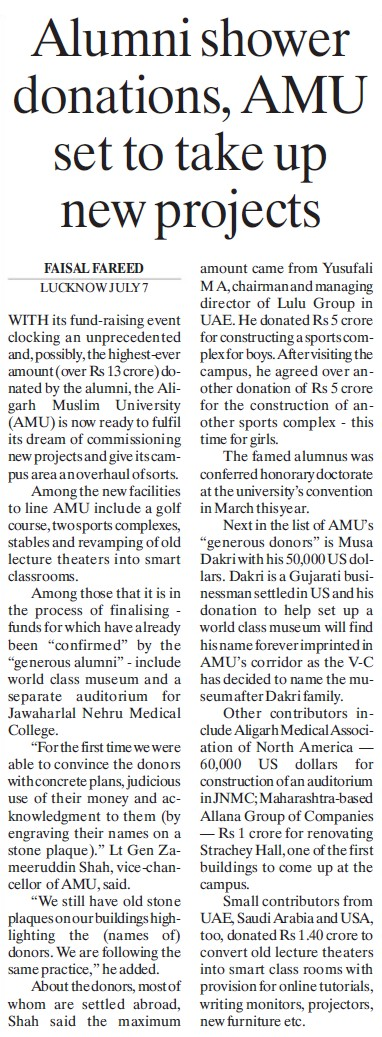 AMU set to take up new projects (Aligarh Muslim University (AMU))