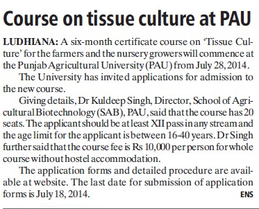 Course on tissue culture at PAU (Punjab Agricultural University PAU)