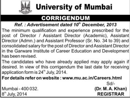 Assistant Director (University of Mumbai)