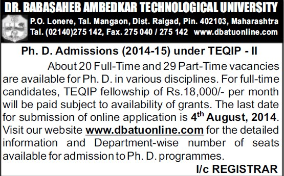 PhD Programme (Dr Babasaheb Ambedkar Technological University, Lonere)
