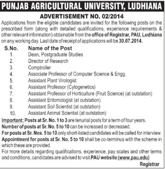 Assistant Soil Scientist (Punjab Agricultural University PAU)