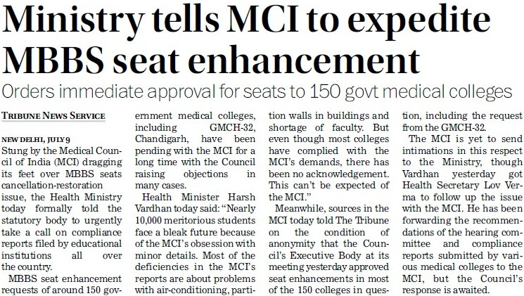 Ministry tells MCI to expedite MBBS seat enhancement (Medical Council of India (MCI))