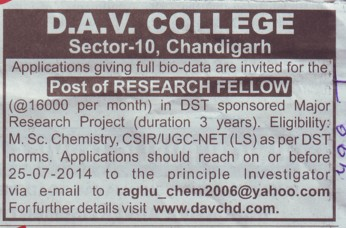 Research Fellow (DAV College Sector 10)