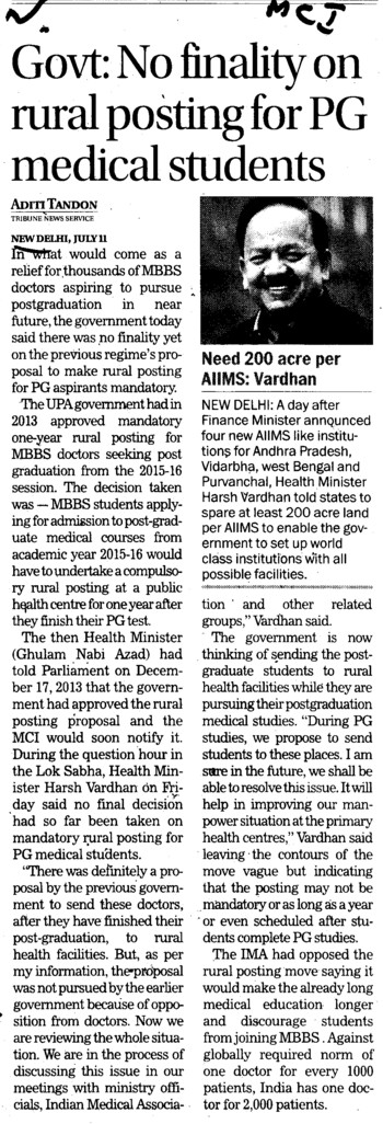 No finality on rural posting for PG medical students (Medical Council of India (MCI))