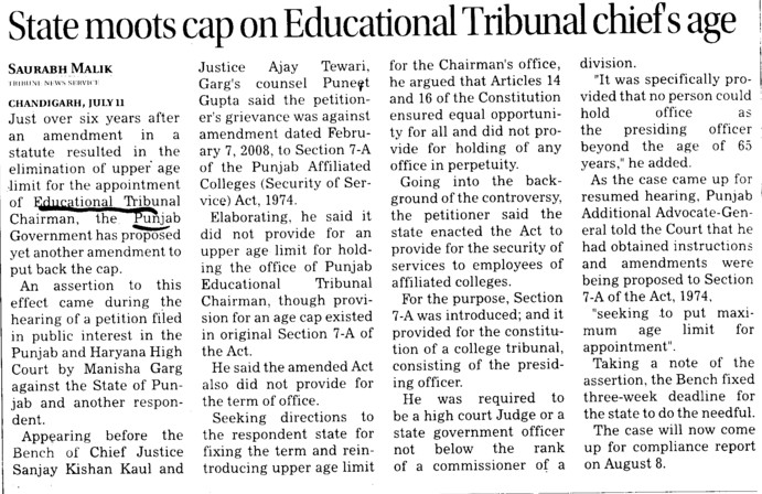 State moots cap on Educational Tribunal chiefs age (Punjab Educational Tribunal)