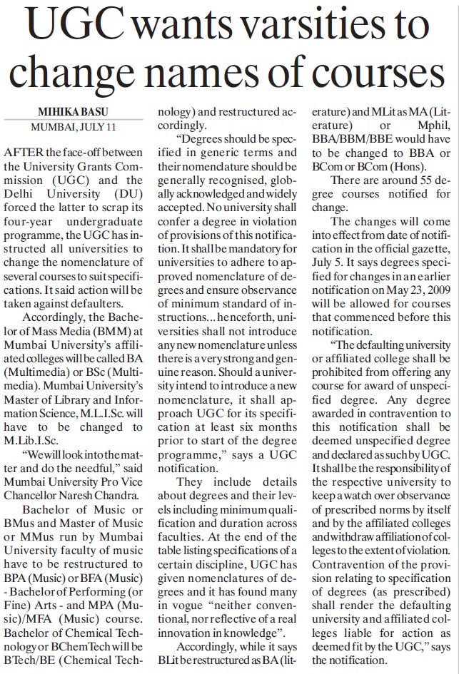 UGC wants varsities to change names of courses (University Grants Commission (UGC))