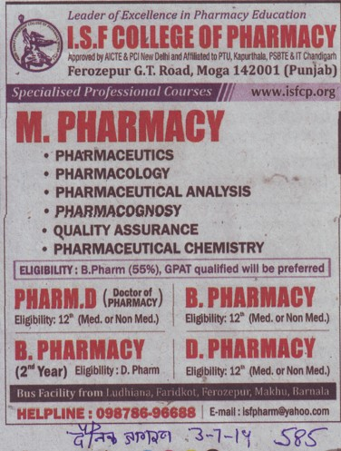 M Pharmacy programme (ISF College of Pharmacy)