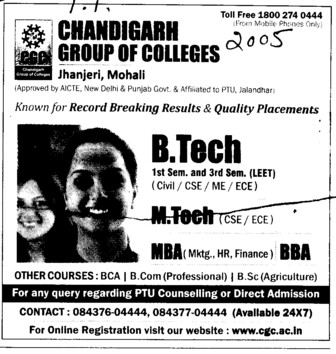 B Tech, M Tech and MBA (Chandigarh Group of Colleges)